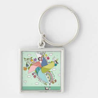 Children Playing with Toys Silver-Colored Square Key Ring