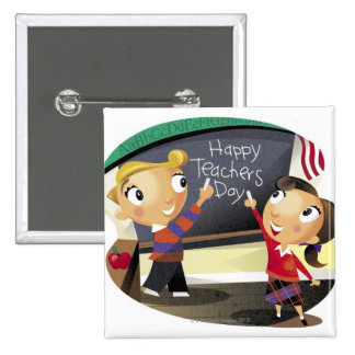 Children pointing at a chalkboard 15 cm square badge