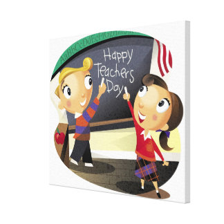 Children pointing at a chalkboard canvas print