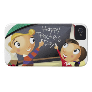 Children pointing at a chalkboard iPhone 4 Case-Mate case