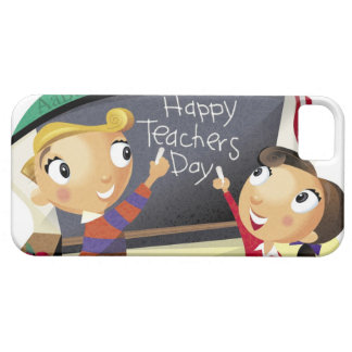 Children pointing at a chalkboard iPhone 5 cases