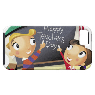 Children pointing at a chalkboard iPhone 5 cover