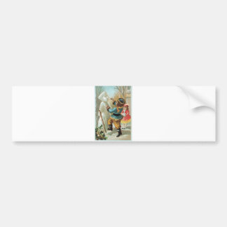 Children putting pipe in snowman s mouth Christmas Bumper Stickers
