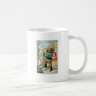 Children putting pipe in snowman s mouth Christmas Coffee Mug