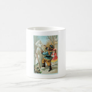 Children putting pipe in snowman's mouth,Christmas Basic White Mug