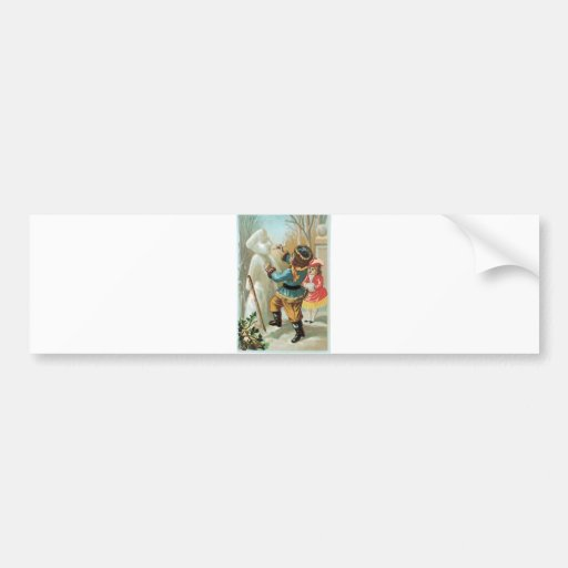 Children putting pipe in snowman's mouth,Christmas Bumper Stickers