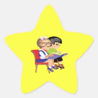 Children Reading 2 Stickers