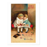 Children Reading Book Christmas Card Postcards