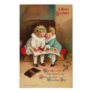 Children Reading Book Christmas Card Print
