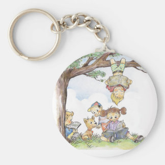 Children reading books key chain