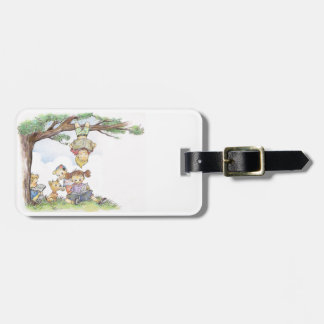 Children reading books tag for bags