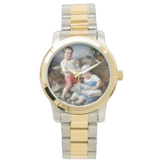Children reading books painting watch