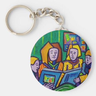 Children Reading by Piliero Basic Round Button Key Ring