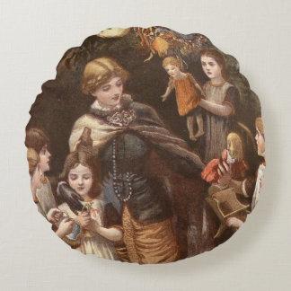 Children receiving gifts round cushion
