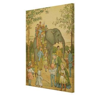 Children Riding on the Elephant (litho) Canvas Print