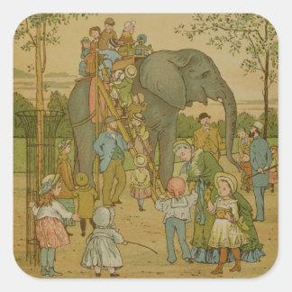 Children Riding on the Elephant litho Square Sticker