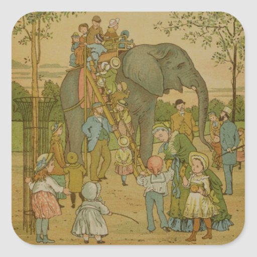 Children Riding on the Elephant (litho) Square Sticker