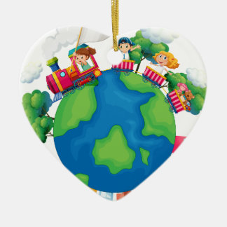 Children riding on train around the world christmas ornament