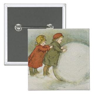 Children Rolling Snowballs 15 Cm Square Badge