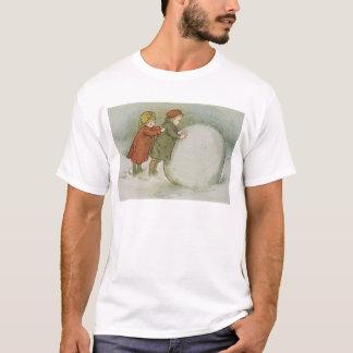 Children Rolling Snowballs T-Shirt