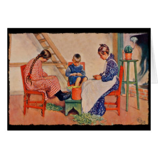 Children Shelling Peas Greeting Card