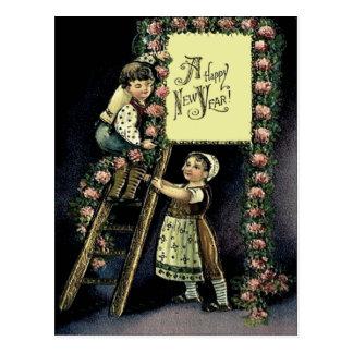 Children Sign Rose Ladder Postcard