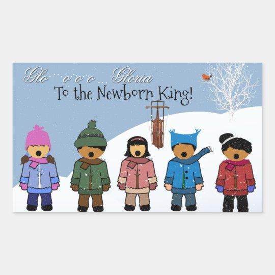 Children Singing 'Gloria To the Newborn King,' Rectangular Sticker