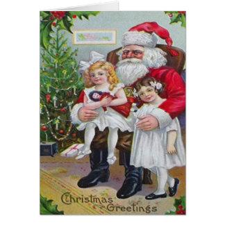Children Sitting On Santa's Lap Greeting Card