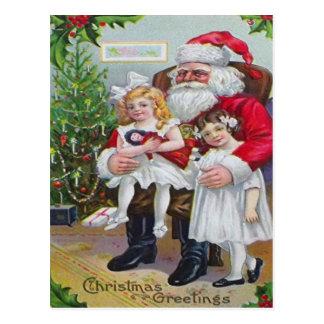 Children Sitting On Santa's Lap Postcard