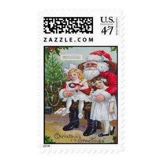 Children Sitting On Santa's Lap Stamp