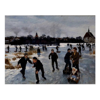 """Children Skating outside Faaborg,"" fine art Postcard"