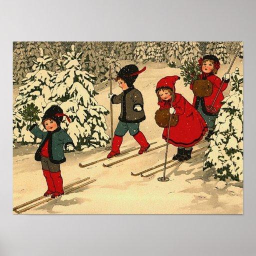 Children skiing, a vintage winter scene poster