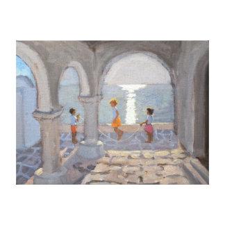 Children Skipping Greek Islands 2008 Canvas Print