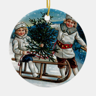 Children Sledding Christmas Ornament