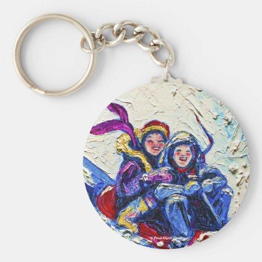Children Sledding Painting Keychains