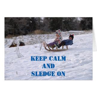 Children sledging greeting card