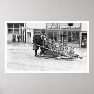 Children Sleigh Seward Alaska 1912 Poster