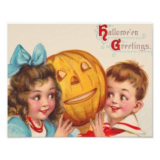 Children Smiling Jack O' Lantern Pumpkin Photo