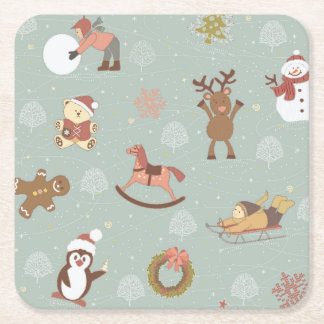 Children, Snowman And Gingerbread Square Paper Coaster