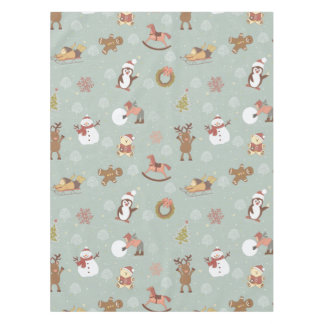 Children, Snowman And Gingerbread Tablecloth