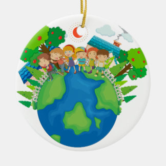 Children standing around the world christmas ornament