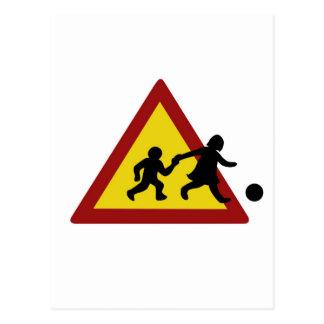 Children traffic sign for soccer postcard