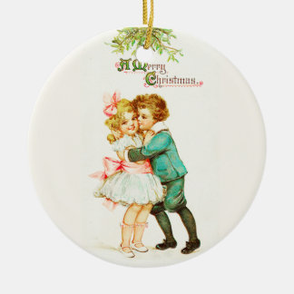 Children Under Mistletoe Vintage Christmas Christmas Ornament