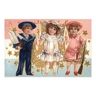 Children Uniform Stars Stripes Photograph