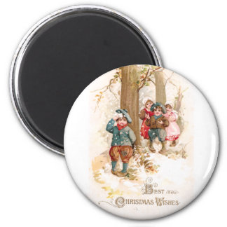 Children Walking in the Woods Vintage Christmas 6 Cm Round Magnet