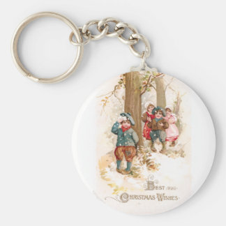 Children Walking in the Woods Vintage Christmas Basic Round Button Key Ring