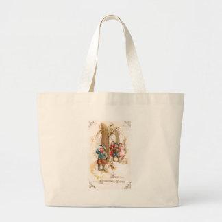 Children Walking in the Woods Vintage Christmas Jumbo Tote Bag