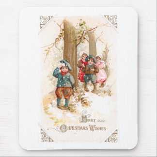 Children Walking in the Woods Vintage Christmas Mouse Pad
