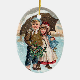 Children walking through the snow christmas ornament