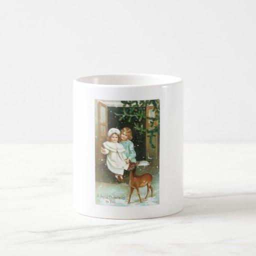 Children with a deer on Christmas Coffee Mug